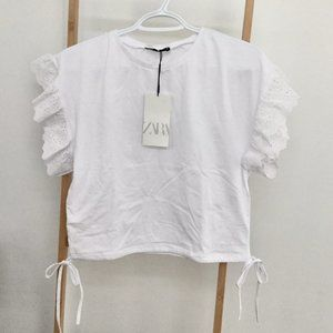 Zara White T-Shirt with Ruffle Trims